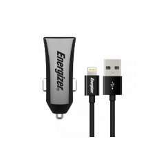 Energizer CAR CHARGER 3.4A 2USB  +Lightning Cable Black