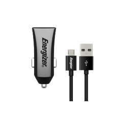 Energizer CAR CHARGER 3.4A 2USB  +MicroUSB Cable Black