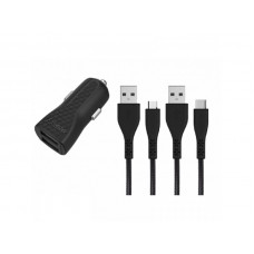 Energizer CAR CHARGER LW 2.4A 2USB+USB-C2.0 +Micro Cable Bk